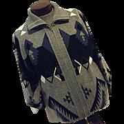 Vintage Towncraft Mens Cardigan Sweater Acyrlic Lg Southwestern Pattern Gray
