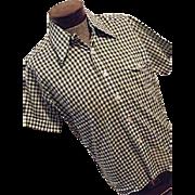 Vintage NOS Deadstock Norgate Norsheen Mens Green Checkered Shirt Lg
