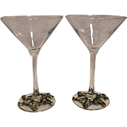 Vintage 1997 Arthur Court Pair of Tall Martini Glasses With Penguins