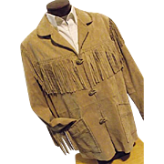 Vintage Scully Mens Western Suede Leather Jacket Fringe Lace Up Size 48 Frontier