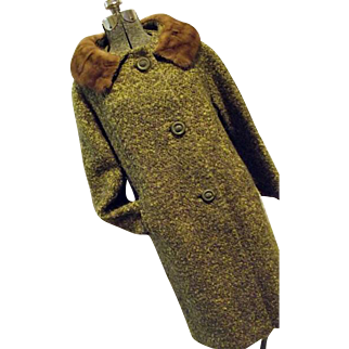 NICE Vintage 1960s Womens Botany Green Wool Boucle Coat Real Mink Fur Collar Lg