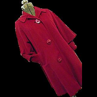 Vintage MADMEN 1950s Mary Lane Womens Fushia Coat 100% Wool Double Sleeve Medium