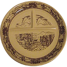 WESTERN TRAVELER Tepco Restaurant Divided Grill Plate Pony Express Stagecoach