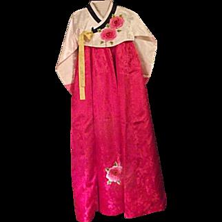 BEAUTIFUL Hanbok Traditional Korean Dress Womens Pink Ivory Applied Flowers Small