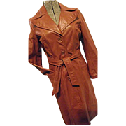 HIPPIE BOHO Vintage 1970s Womens Lesoleil Long Leather Trench Coat 7/8 Sm Peak Lapel