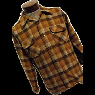 Vintage 1960s Pendleton Woolen Mills Mens Brown Wool Plaid Flannel Board Shirt
