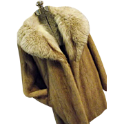 Vintage Marcroft Furs Womens Blonde Mink and Silver Fox Fur Coat Wrap M
