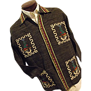 Vintage LA ORIGINAL Guatamalan Mens Cotton Shirt Jacket Lg 17 Embroidered Black
