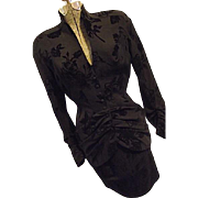 COUTURE Vintage Thierry Mugler France Womens 2PC Wool Skirt Suit Flocked Roses Black