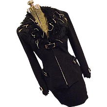 COUTURE Vintage Thierry Mugler France Womens 2PC Wool Skirt Suit Faux Fur Fitted 2-4