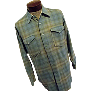Vintage 1960s Pendleton Woolen Mills Mens Blue Shadow Plaid Lumberjack Shirt 16 Medium