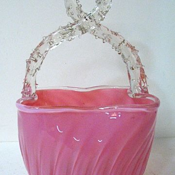 Late 1800s Stevens & Williams Pink Opalescent Glass Basket, Thorned Handle