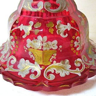 Large 1830-50 Cranberry Glass Bohemian Perfume, Biedermeier Period