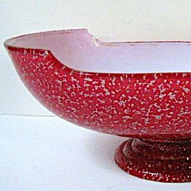 Late 1800s Harrach Cased Cranberry Spangle Glass Center/Banana Bowl