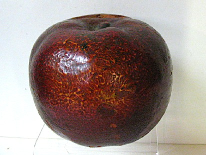 Late 1800s Roseville Pottery Red Apple Bank, Scarce