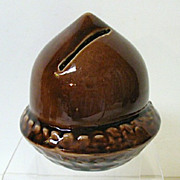 Super Condition Acorn Pottery Bank, early 1900s