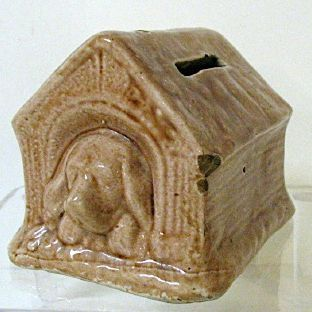 Charming early 1900s Pottery Bank - Doghouse with Sleeping Puppy