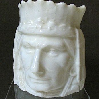 Czech/Austrian Ceramic Figural Indian Head Bank, White Glaze