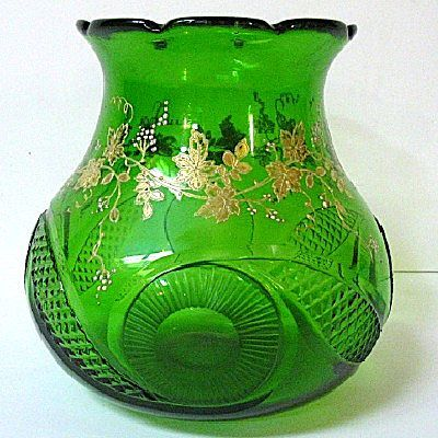 Mid 1800s Moser Green Glass Vase, Hand Cut & Enameled