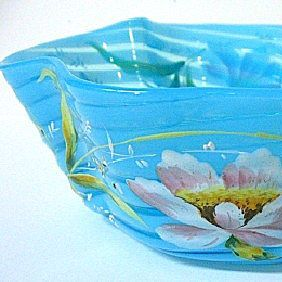 Late 1800s Harrach Fruit Cocktail Bowl, Spiral Blue Glass Pattern