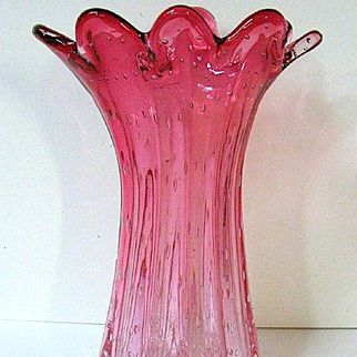 Late 1800s Rubina Ribbed Vase w/Controlled Bubbles