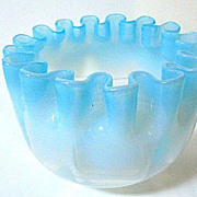 Late 1800s Blue to Clear Opalescent Glass Finger Bowl w/Tightly Pleated Rim
