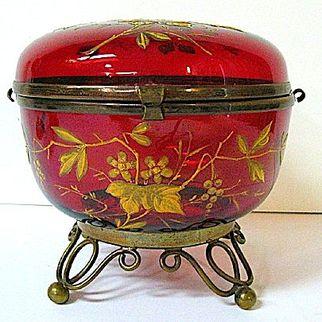 Late 1800s Moser Deep Red Glass Dresser Box with Brass Ormolu Feet