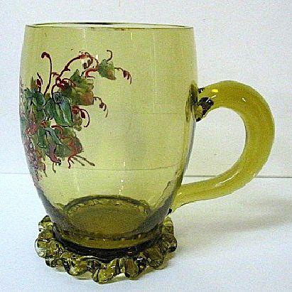 Late 1800s Heckert Citron Glass Mug; Enameled Grapes Decor