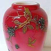 Late 1800s Harrach Cased Peach Blow Vase, Signed