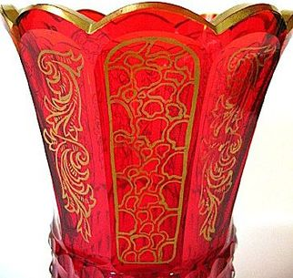 Mid-1800s Ruby Red Cut Glass Chalice w/Gold Gilt Enameling