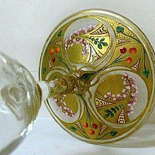 1880s Moser Sorbet with Heavily Enameled Foot