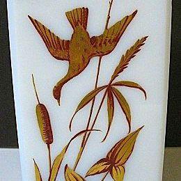 1850s-70s Rectangular White Glass Vase w/Enameled Gold Gilt Flying Ducks & Foliage