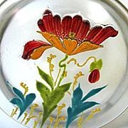 1890s Harrach Satin Glass Dresser Box with Art Nouveau Enameled Poppy Pattern - Red Tag Sale Item