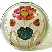 Large 1890s Harrach Satin Glass Dresser Box with Art Nouveau Enameled Poppy Pattern