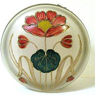 Large 1890s Harrach Satin Glass Dresser Box with Art Nouveau Enameled Poppy Pattern