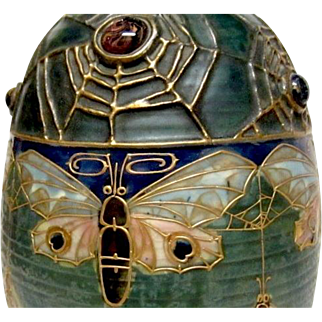 Amphora Butterfly and Spiderweb Vase, Paul Dachsel artwork