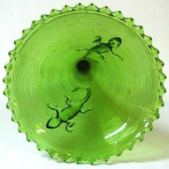 Rare Early Green Pressed Glass Salamander Pattern Vase