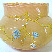 1880s Stevens & Williams Burmese Glass Bowl, Spiral Pattern, Scalloped Rim