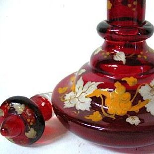 1830-50 Ruby Red Glass Bohemian Biedermeier Period Perfume, Grape Leaves Decor