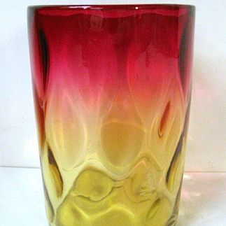 Late 1800s Mt. Washington Rose Amber (Amberina) Tumbler