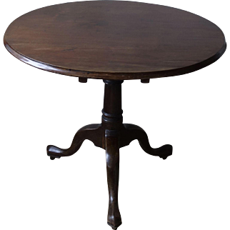 Antique Mahogany Tilt Top Round Table with Birdcage