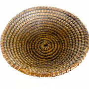 Antique Round, Coiled, Rye & Straw Basket