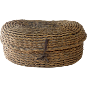 Vintage French Straw Egg Basket