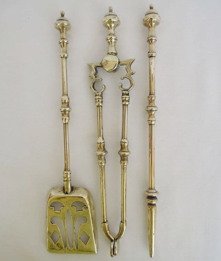 Rare Unusual Antique Set Of English Brass Fireplace Tools