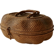 Antique French Covered Basket with Handles and Clasp