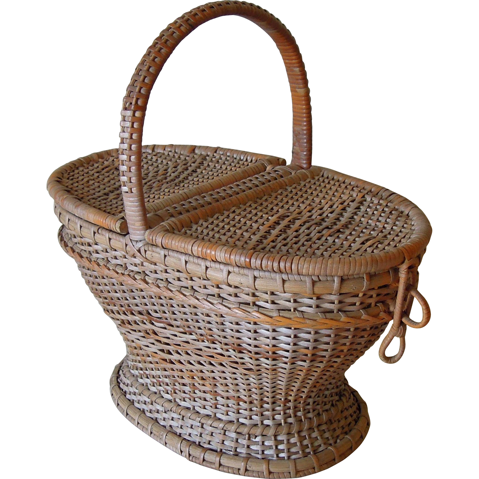 vintage french basket with hinged lid ca 1930 sold on ruby lane. Black Bedroom Furniture Sets. Home Design Ideas