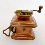 Antique English Figural Tape Measure, Copper & Brass Coffee Grinder