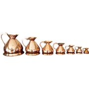 Set of Seven Antique English Copper Measures, Ale, Wine, Spirits