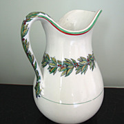 Antique English White Ironstone Jug with Leaf & Berry Garland, Pitcher, Christmas
