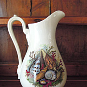 Antique English White Ironstone Footed Jug with Beautiful Shell Design